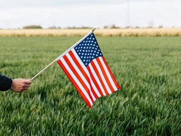 American Life Insurance Companies, a person waves an American flag in a field